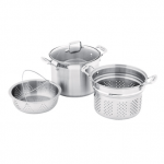 Cookware Set - 3 Piece Multi-Pot - 24cm/7.2L Stockpot - 24cm Pasta Insert - 24cm Multi-Steamer Insert -