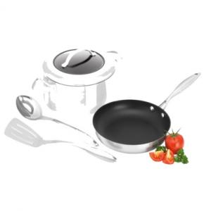 CTX 4 Piece Starter Set: - 24cm Frypan - 24cm/4.8L Casserole - Stainless Steel Fork - Stainless Steel Spoon