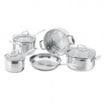 Cookware Set - 5 Piece with Steamer - 16cm/1.8L Saucepan - 20cm/3.5L Saucepan - 24cm/4.8L Dutch Oven - 26cm Frypan - 16/20/24cm Multi-Steamer