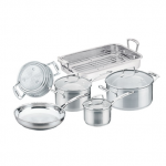Cookware Set - 6 piece with Roaster - 16cm/1.8L Saucepan - 20cm/3.5L Saucepan - 24cm/4.8L Dutch Oven - 26cm Frypan - 42cm x 24cm Roaster with Rack - 16/20/24cm Multi-Steamer